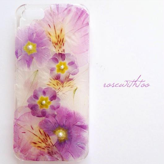 iPhone5/5s用 フラワーアートケース 押し花デザイン 0329_1