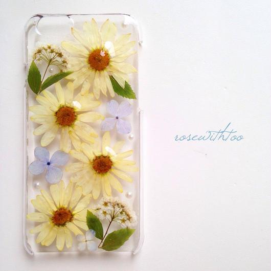 iPhone6用 フラワーアートケース 押し花デザイン0308_1