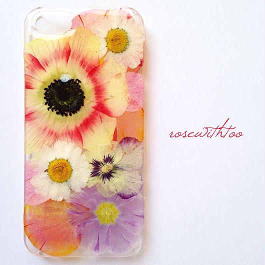 iPhone5/5s用 フラワーアートケース 押し花デザイン 0318_3