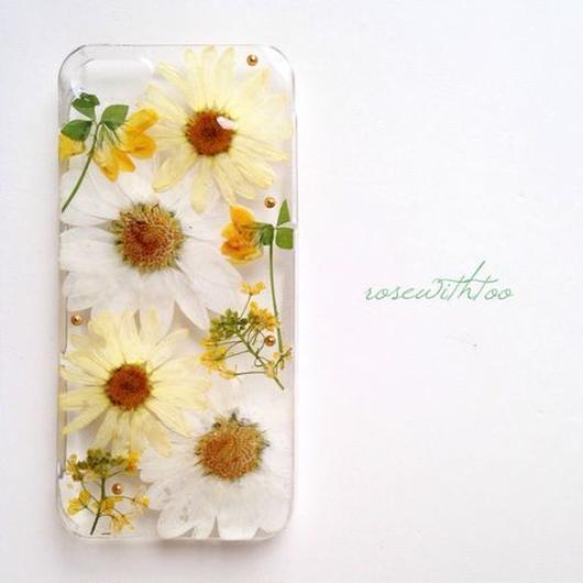 iPhone5/5s用 フラワーアートケース 押し花デザイン0308_1