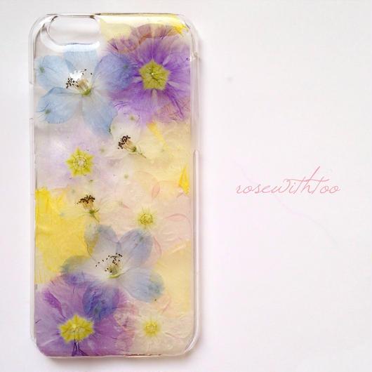 iPhone6用 フラワーアートケース 押し花デザイン 0318_1