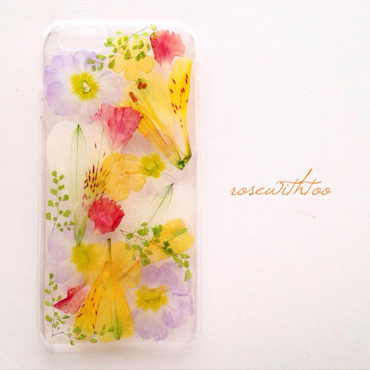 iPhone6用 フラワーアートケース 押し花デザイン0222_4