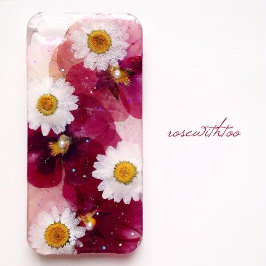 iPhone5/5s用 フラワーアートケース 押し花デザイン0222_2