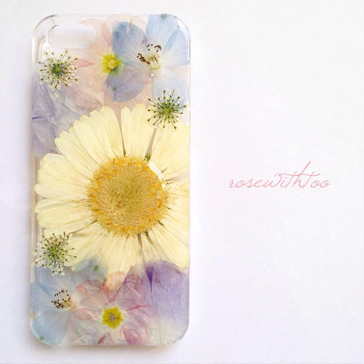 iPhone5/5s用 フラワーアートケース 押し花デザイン 0318_4