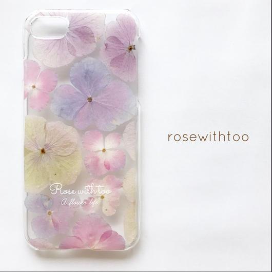 押し花iPhoneケース 0409_7 Hydrangea pink