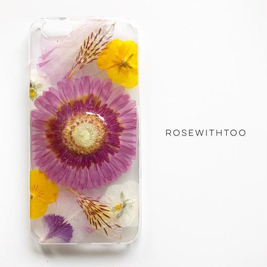 押し花iPhoneケース 0730_6 purplepinkpink gerbera