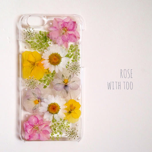iPhone6用 フラワーアートケース 押し花デザイン005