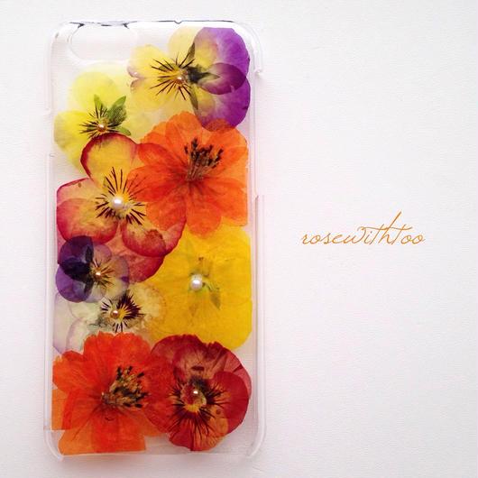 iPhone6用 フラワーアートケース 押し花デザイン0216_5