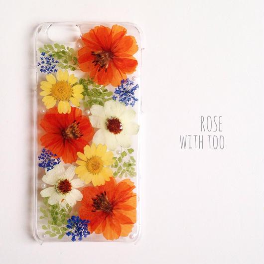 iPhone6用 フラワーアートケース 押し花デザイン003
