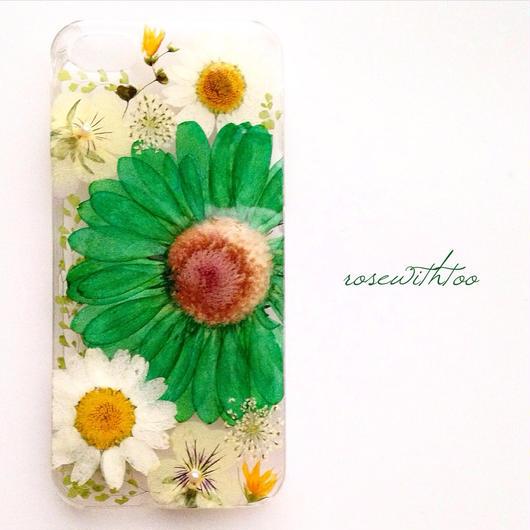 iPhone5/5s用 フラワーアートケース 押し花デザイン0119_1