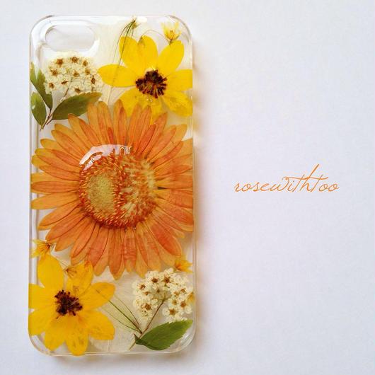 iPhone5/5s用 フラワーアートケース 押し花デザイン 0318_2