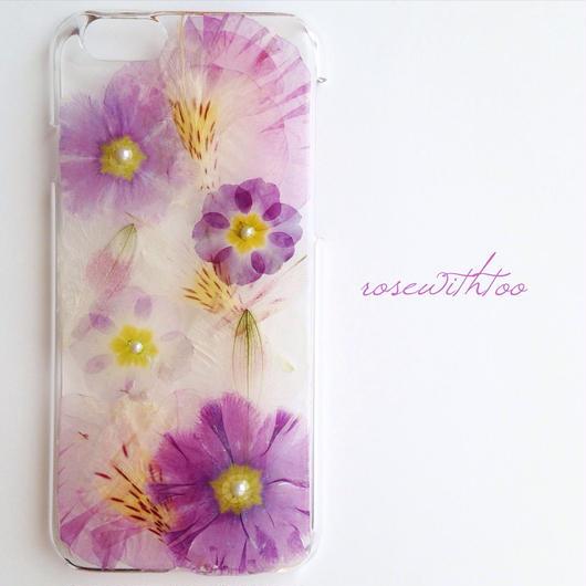 iPhone6用 フラワーアートケース 押し花デザイン 0329_1