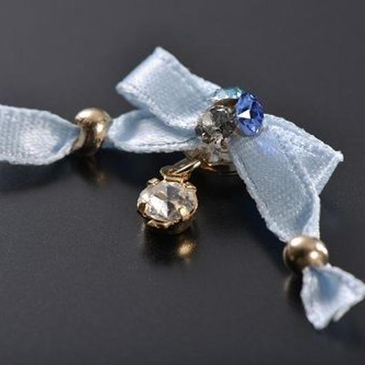 アジアンリボン Blue リングセット