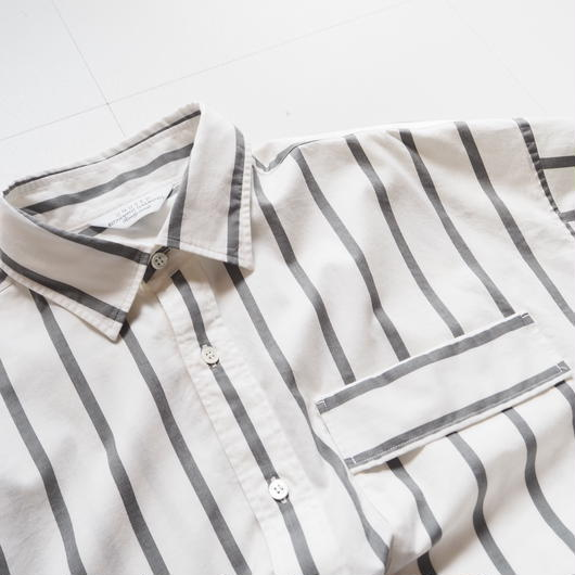 "UNUSED ""US1485 Stripe Shirt. "" White×Gray unisex"
