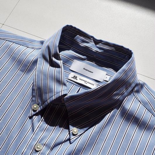 """Graphpaper """"Thomas Mason L/S B.D Shirt""""  Sax Stripe"""