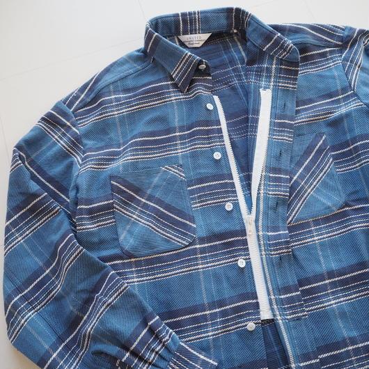 """UNUSED """"US1482 check shirts."""" navy×blue unisex"""