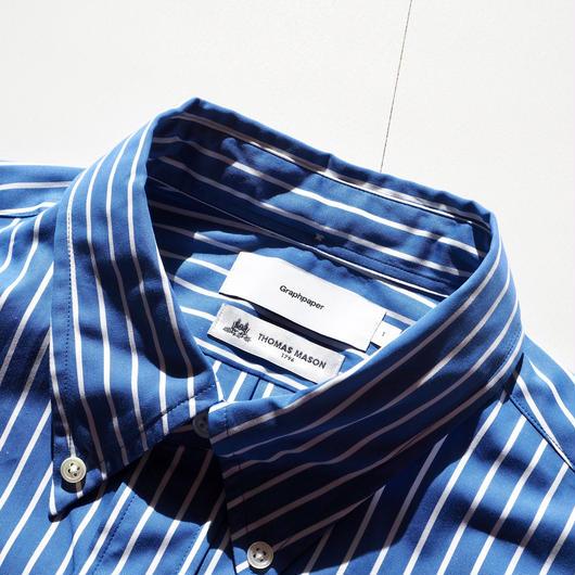 "Graphpaper ""Thomas Mason L/S B.D Shirt""  Blue Stripe"