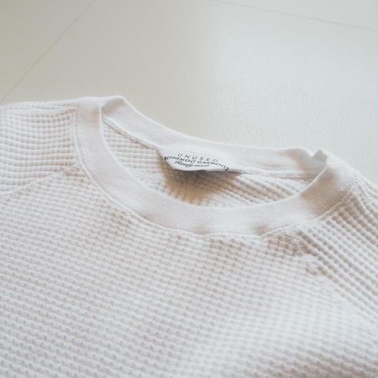 """UNUSED """"US1469 Long-Sleeve Waffle T-shirt. """" White unisex"""