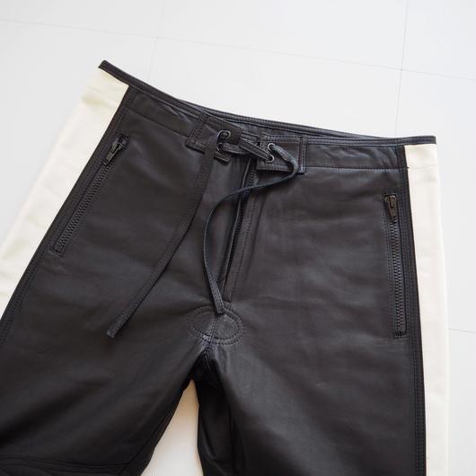 "UNUSED ""UW0680 leather pants."" black × off white unisex"
