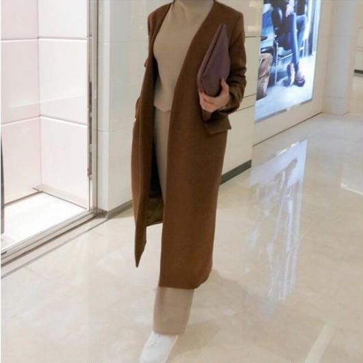 ノーカラーシンプル ロングコート(2カラー)