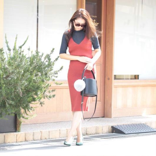 リブ ニット キャミソール スカート セットアップ(3カラー)