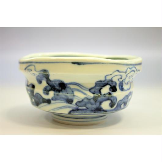 芳洲窯 染付青海波茶碗