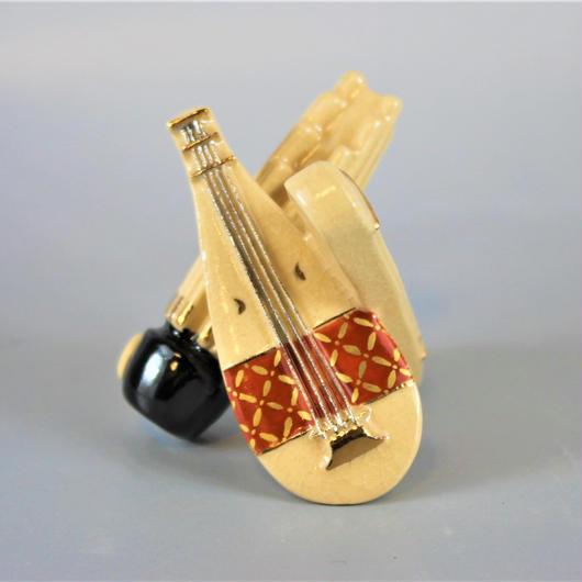 今岡三四郎作 色絵楽器蓋置