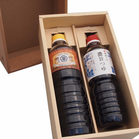 【ギフト】特選醤油セット 濃口醤油(1000ml)・濃旨つゆ(750ml)【箱代含む】
