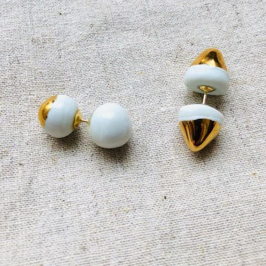 juju made /porcelain dumbbell  earring gold glazed /ジュジュメイド(陶磁器)/ ポーセリン/ 片耳ピアス