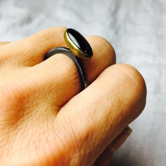 ishi jewelry / ring wabi garnet / イシジュエリー /  ガーネットリング