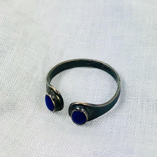 ishi jewelry /silver  ring encontrado lapis  / イシジュエリー / ダブルストーン シルバーリング / ラピスラズリ