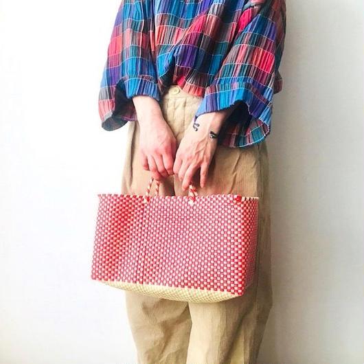 Cilantron / nylon mercado bag  / red / natural / シラントロン / 横長メルカドバッグ