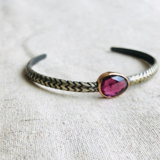 ishi  jewelry / Cobra natural stone bangle /Pink tourmaline  / 10k rose gold  bezel / silver bangle