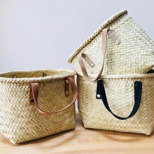 pips /  palm leaf basket tote bag with leather handle / black  / ピップス/ パームリーフバスケットバッグ/ブラック