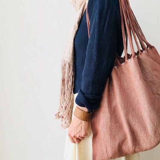 pips / cotton hand woven  hammock bag/ pink beige  / ピップス / コットン ハンモックバッグ