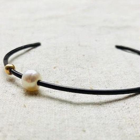cinq / roam pearl cuff  / oxidized silver / pearl  / シンク /パールバングル