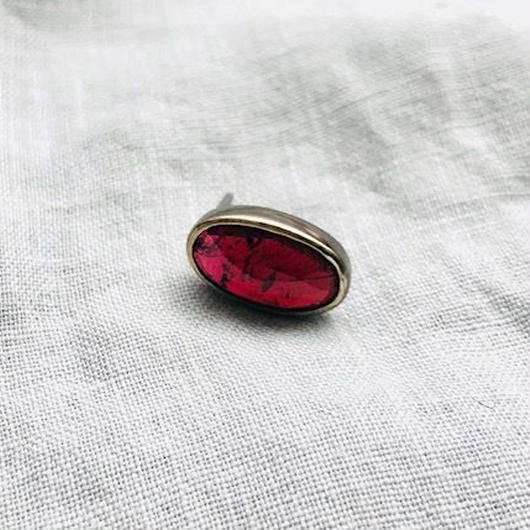 ishi jewelry / earring sencillo garnet  / silver  bezel / イシ ジュエリー / ブラス片耳ピアス /ガーネット