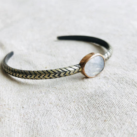 ishi  jewelry / Cobra natural stone bangle / Moonstone  / 10k rose gold bezel / silver bangle