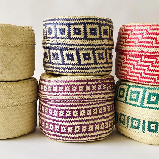 oaxacan palm leaf basket  pattern small size  / オアハカ / パームリーフバスケット