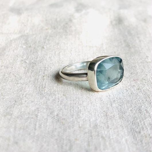 Ishi jewelry / natural stone ring / moss aquamarine /silver ring / イシジュエリー /モスアクアマリン