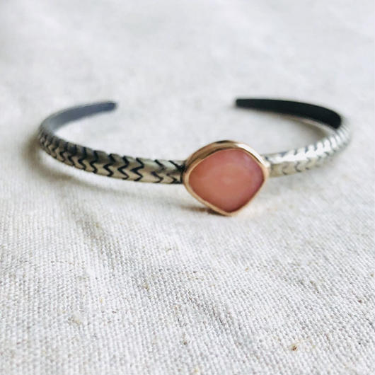 ishi  jewelry / Cobra natural stone bangle /Pink  opal / 10k rose gold  bezel / silver bangle