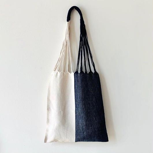 pips / cotton handwoven hammock bag / white x navy / ピップス / コットン ハンモックバッグ
