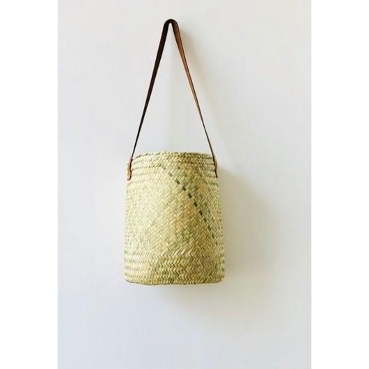 pips  / palm leaf basket drum bag with brown leather handle  / ピップス/ パームリーフバスケットドラムバッグ/ブラウン