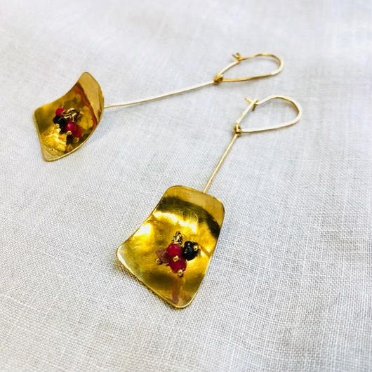 cinq / lamp earring / 14K gold filed / tourmaline , ruby / シンク/ ランプイアリング / トルマリン, ルビー