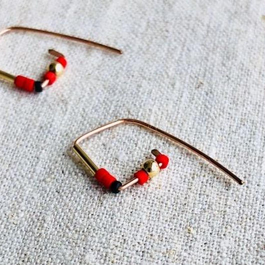 cinq / Maze red coral earring / 14k rose gold filled / シンク / 赤珊瑚 ローズゴール ピアス