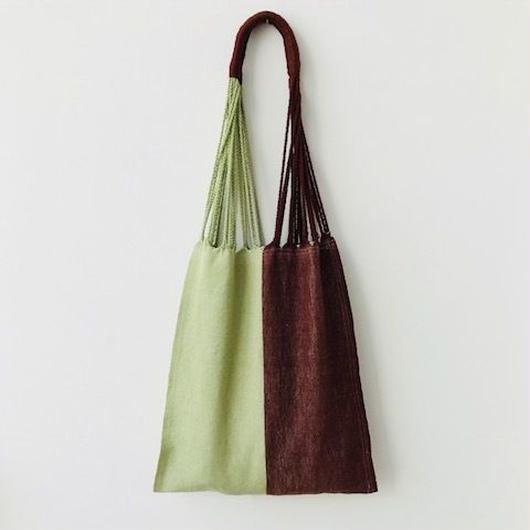 pips / cotton hand woven  hammock bag  / lime  x brown  / ピップス / コットン ハンモックバッグ