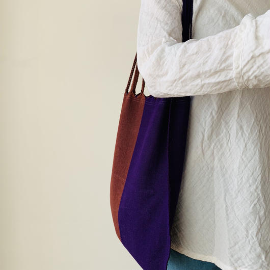 pips / cotton handwoven hammock bag /purple x rust / ピップス / コットン ハンモックバッグ