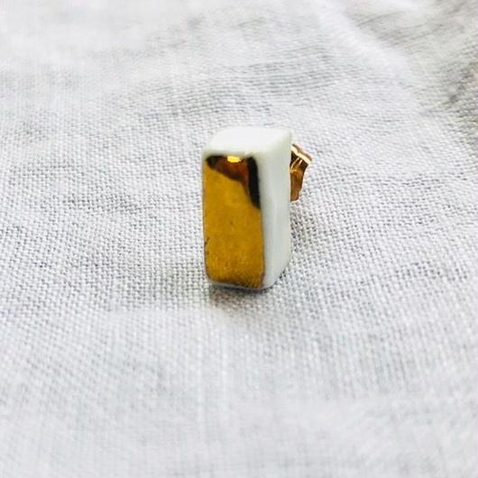 jujumade / 14k gold porcelain  / * bar earring  / ジュジュメイド / 陶磁器 / 14K ゴールドピアス