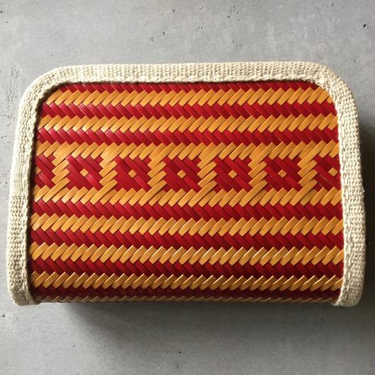 竹と麻の財布・小 桝網代漆仕上げ・交色赤白