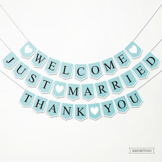 <3本セット>ウェディング用ガーランド(パステルブルー×黒文字):JUST MARRIED, WELCOME, THANK YOU